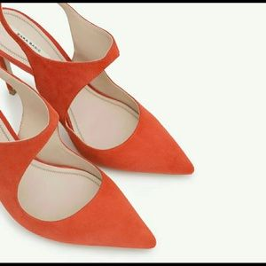Zara suede slingback shoes